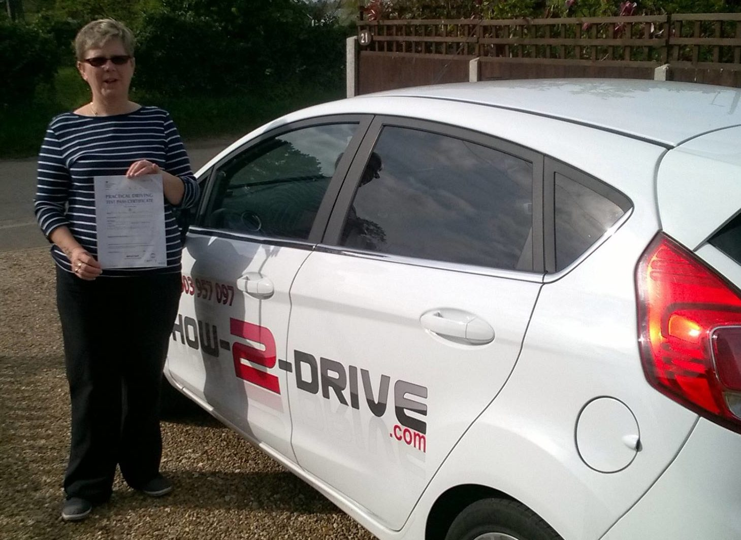 Picture showing former pupil Susan Green after passing her test