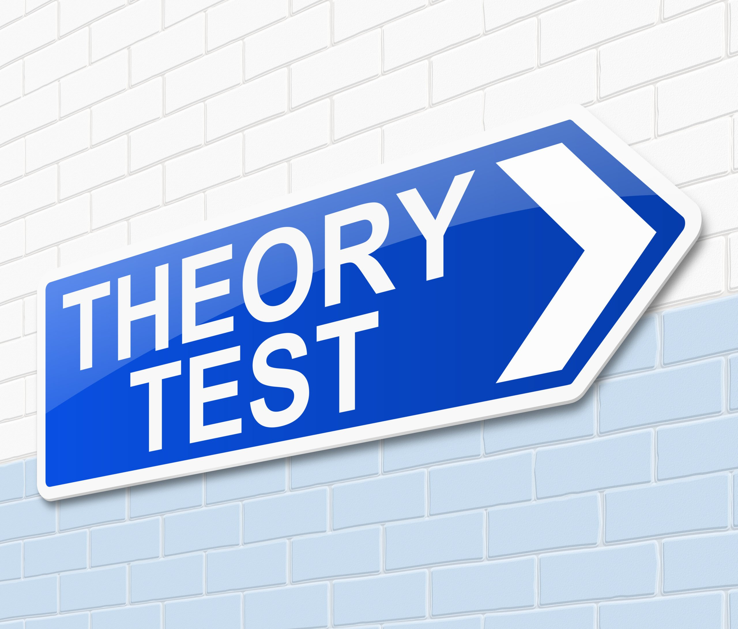 Picture showing a sign for theory test