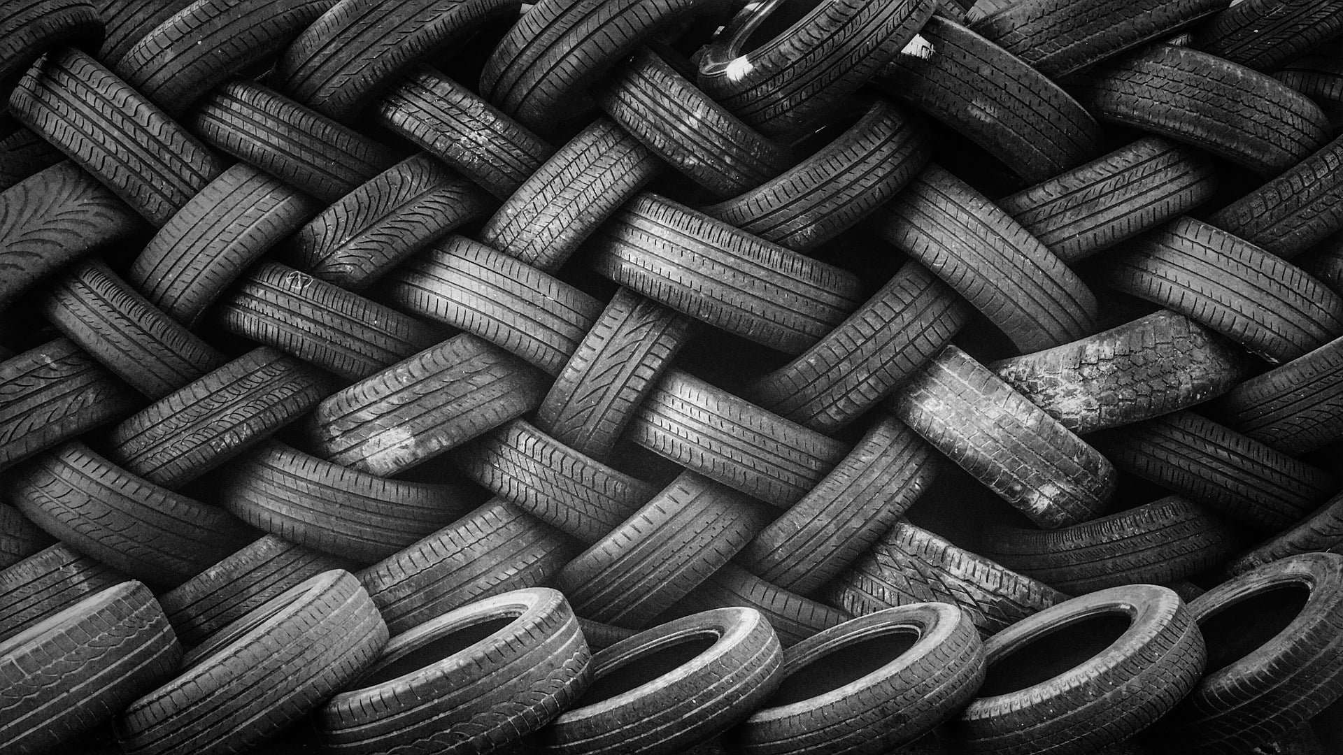 Picture showing a pile of car tyres